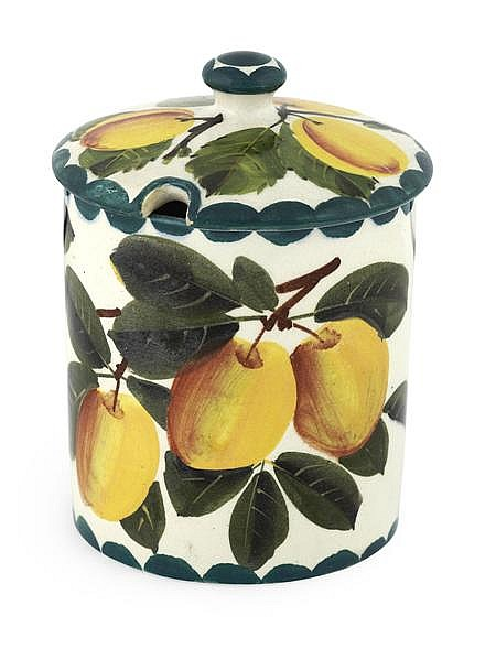 WEMYSS WARE 'YELLOW PLUMS' MEDIUM PRESERVE JAR AND COVER, EARLY 20TH CENTURY 12.5cm high