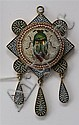 A 19th century silver gilt and micro mosaic pendant 62mm long, 40mm wide
