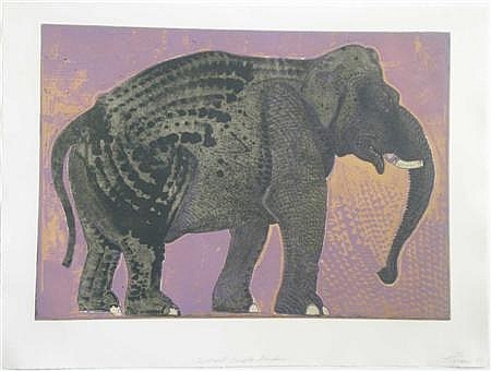 § ROBERT RIVERS (AMERICAN CONTEMPORARY) ELEPHANT IN PURPLE GARDEN 56cm x 76cm (22in x 30in)