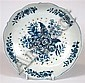 THREE WORCESTER BLUE AND WHITE 'PINE CONE' PATTERN WARES CIRCA 1770