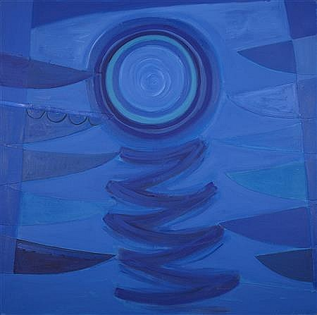 § SIR TERRY FROST R.A (BRITISH 1915-2003) MOON BLUE 169.5cm x 169.5cm (66.5in x 66.5in)