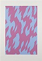 § BRIDGET RILEY C.H., C.B.E (BRITISH B.1931) MAGENTA AND BLUE 117cm x 83.7cm (46in x 33in)