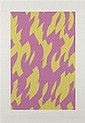 § BRIDGET RILEY C.H., C.B.E (BRITISH B.1931) MAGENTA AND YELLOW 117cm x 83.7cm (46in x 33in)