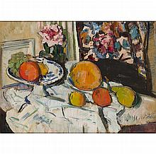 GEORGE LESLIE HUNTER (SCOTTISH 1877-1931) A STILL LIFE WITH FRUIT AND FLOWERS ON A WHITE CLOTH 51cm x 69cm (20in x 27in)