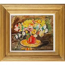 * GEORGE LESLIE HUNTER (SCOTTISH 1877-1931) STILL LIFE OF MIXED FLOWERS 38cm x 46cm (15in x 18in)