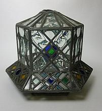 ARTS & CRAFTS STAINED AND LEADED GLASS LANTERN, CIRCA 1900 30cm diameter, 26cm tall