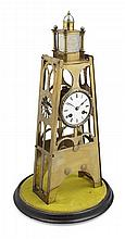 VICTORIAN BRASS SKELETON CLOCK AND DOME 19TH CENTURY Clock 45cm high