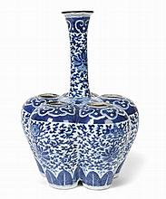 CHINESE BLUE AND WHITE TULIP VASE 26cm high