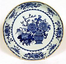 CHINESE BLUE AND WHITE PORCELAIN DISH 18TH CENTURY 25.5cm wide