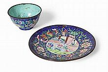 TWO CHINESE CANTON ENAMEL CUPS AND SAUCERS 18TH CENTURY 15.5cm long, the other 13cm diameter