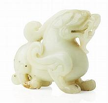 CHINESE CARVED JADE MYTHICAL BEAST 19TH/20TH CENTURY 8cm long