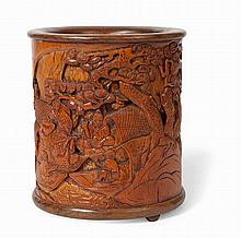 CHINESE BAMBOO BRUSH POT 19TH/20TH CENTURY 16cm high