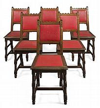GOTHIC REVIVAL SET OF SIX OAK FRAMED DINING CHAIRS, CIRCA 1880