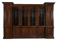 LARGE EARLY VICTORIAN MAHOGANY INVERTED BREAKFRONT BOOKCASE 19TH CENTURY 383cm long, 272cm high, 39cm deeo