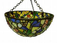 STAINED AND LEADED GLASS PLAFONNIER, CIRCA 1930 31.5cm diameter