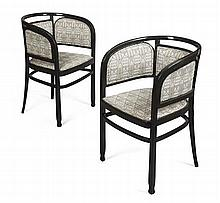 ATTRIBUTED TO JOSEF HOFFMANN FOR J. & J. KOHN, VIENNA PAIR OF SECESSIONIST EBONISED TUB CHAIRS, CIRCA 1900