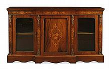 EDWARDIAN WALNUT AND MARQUETRY BRASS MOUNTED BREAKFRONT CREDENZA 176cm wide, 104cm high, 34cm deep