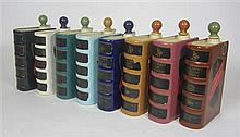 COLLECTION OF GOVANCROFT POTTERY DECANTERS AND STOPPERS 23cm high (including stopper)