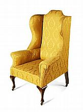 QUEEN ANNE STYLE WING BACK ARMCHAIR 20TH CENTURY 76cm wide, 118cm high, 54cm deep