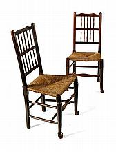 MATCHED SET OF SIX LANCASHIRE CHAIRS 52cm wide, 98cm high, 38cm deep