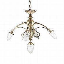 BRASS AND CUT GLASS CHANDELIER 76cm wide, 67cm high