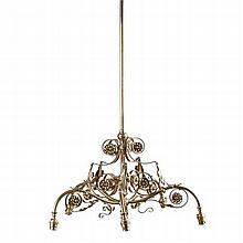 BRASS FIVE BRANCH CHANDELIER 65cm wide, 96cm high