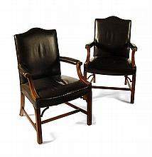 PAIR LEATHER GEORGIAN STYLE GAINSBOROUGH CHAIRS 66cm wide, 101cm high, 49cm deep