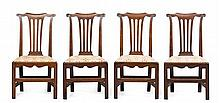 SET OF FOUR GEORGE III PROVINCIAL OAK SIDE CHAIRS 18TH CENTURY 52cm wide, 97cm high, 39cm deep