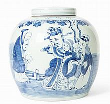 * CHINESE BLUE AND WHITE GINGER JAR WITH COVER QING DYNASTY, 19TH CENTURY