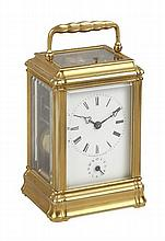 FRENCH BRASS REPEATING CARRIAGE CLOCK 19TH CENTURY 8cm wide, 11cm high, 6.5cm deep