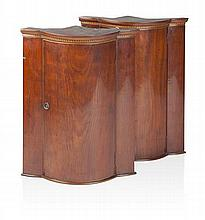 NEAR PAIR OF MAHOGANY BOW FRONT CORNER CABINETS 19TH CENTURY 48cm wide, 63cm high, 35cm deep