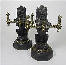 PAIR OF CAST IRON AND BRASS FIRE DOGS