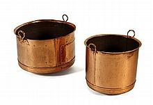 TWO COPPER LOG BINS 57cm wide, 39cm high and 45cm wide, 39cm high