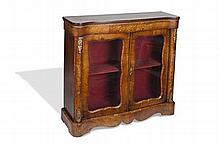 VICTORIAN WALNUT TWO DOOR GLAZED CABINET 110cm wide, 107cm high, 33cm deep