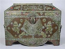 ASIAN BRASS MOUNTED COPPER CASKET 61.5cm wide, 48cm high, 31.5cm deep