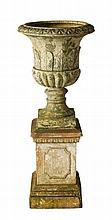 THREE PIECE FIRE-CLAY URN