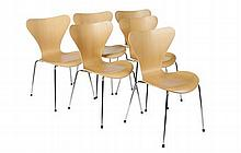 SET OF SIX LACQUERED WOOD STACKING CHAIRS, DESIGNED BY ARNE JACOBSEN FOR FRITZ HANSEN, MODEL 3107 50cm wide, 77cm high, 40cm deep