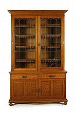 OAK ENGLISH ARTS & CRAFTS BOOKCASE AND UNDER CABINET 148cm wide, 232cm high, 48cm deep