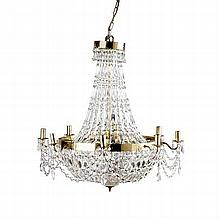 BRASS AND CUT CRYSTAL BASKET CHANDELIER 20TH CENTURY 71cm wide, 80cm high