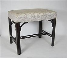 GEORGE III STYLE UPHOLSTERED MAHOGANY STOOL 19TH CENTURY 53cm wide, 49cm high, 38.5cm deep