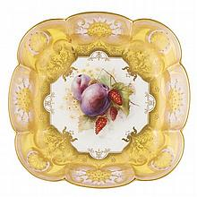 ROYAL WORCESTER PORCELAIN DISH, BY RICHARD SEBRIGHT DATE CODE FOR 1917 24.5cm wide