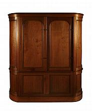 WHYTOCK AND REID BOW FRONT WARDROBE 20TH CENTURY 190cm wide, 202cm high, 52cm deep