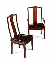 CHINESE FRUITWOOD EXTENDING TWIN PEDESTAL DINING TABLE AND CHAIRS 20TH CENTURY