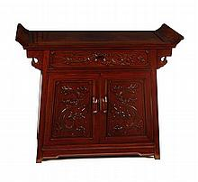 CHINESE CARVED SLOPING ALTAR TABLE 20TH CENTURY 92cm wide, 76cm high, 41cm deep