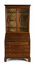 EDWARDIAN MAHOGANY INLAID BUREAU BOOKCASE 102cm wide, 213cm high, 57cm deep