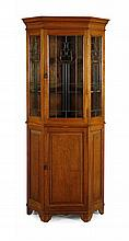 OAK AND STAINED GLASS CORNER CABINET LATE 19TH CENTURY 93cm wide, 209cm high, 59cm deep