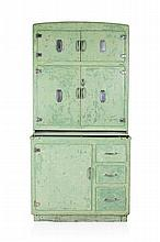 GREEN PAINTED KITCHEN CABINET CIRCA 1950 91cm wide, 185cm high, 56cm deep