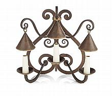 PAIR OF CAST IRON WALL LIGHTS 42cm high