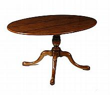 GEORGE II STYLE OAK OVAL BREAKFAST TABLE 152.5cm wide, 75cm high, 107cm deep