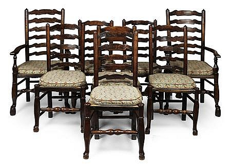 ASSEMBLED SET OF EIGHT LANCASHIRE LADDERBACK CHAIRS 18TH/ 19TH CENTURY 59cm wide, 111cm high, 43cm deep (armchair); 49cm wide, 101cm...